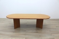 Cherry Veneer 2500mm Racetrack Executive Office Meeting Table - Thumb 5