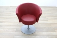 Connection Bobbin Red Leather Office Reception Tub Chair - Thumb 4