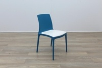 Brunner Blue with White Leather Seat Canteen Chair - Thumb 5