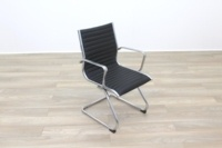 New Black Ribbed Leather Cantilever Office Meeting Chair - Thumb 2