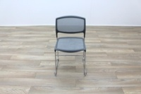Grey Mesh / Chrome Frame Cantilever Office Canteen / Meeting Chairs - Thumb 4