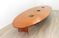 Cherry Veneer Oval Shape Meeting Table - Thumb 2