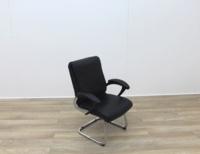 Black Faux Leather Meeting Chairs With Folding Back - Thumb 6