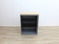 Grey Metal Tambours With Two Shelves - Thumb 3