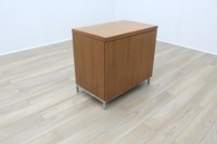 Sven Christiansen Solid Cherry Executive Office Storage Cupboard / Credenza w/ Chrome Legs - Thumb 3