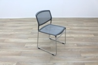 Grey Mesh / Chrome Frame Cantilever Office Canteen / Meeting Chairs - Thumb 5