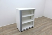 White Tambour Office Storage Cupboards - Thumb 4