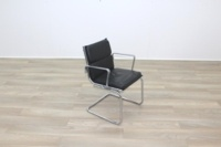 Charles Eames Soft Pad Style Black Leather Cantilever Office Meeting Chair - Thumb 2