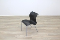Black Polymer Stacking Office Canteen Chair - Thumb 4