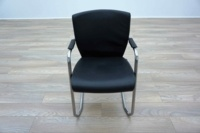 Pledge Black Leather Cantilever Office Meeting Chairs - Thumb 3