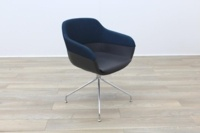 Brunner Blue Fabric Back Grey Leather Seat Reception Tub Chair - Thumb 5