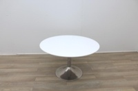 White Round Table With Chrome Base - Thumb 2