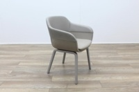 Brunner Grey Leather Back Grey Fabric Seat Reception Tub Chair - Thumb 5