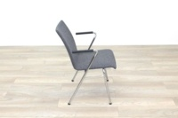Brunner Light Grey Fabric Meeting Chair with Round Armrests - Thumb 6