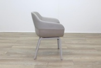 Brunner Grey Leather Back Grey Fabric Seat Reception Tub Chair - Thumb 6