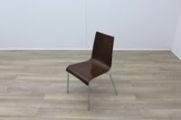 Walnut with Chrome Base Meeting Chair - Thumb 3