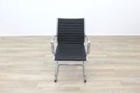 New Black Ribbed Leather Cantilever Office Meeting Chair - Thumb 5