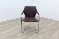 Brunner Burgundy Leather Cantilever Meeting Chair - Thumb 2