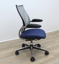 Humanscale Liberty Blue Fabric / Grey Mesh Office Task Chairs - Thumb 7