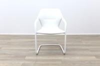 Brunner White Leather White Metal Frame Meeting Chair - Thumb 4