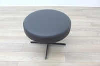 Brunner Dark Grey Leather Round Chair - Thumb 2