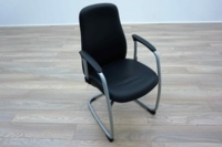 Black Leather Cantilever Office Meeting Chairs - Thumb 2