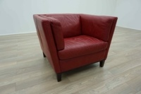 Red Leather Italian Single Seater Office Reception Arm Chair - Thumb 5