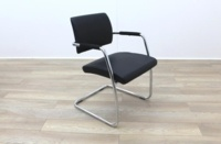Black Faux Leather Meeting Chair - Thumb 5