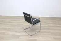 Charles Eames Soft Pad Style Black Leather Cantilever Office Meeting Chair - Thumb 7