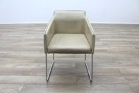 Allermuir Tommo Ivory Leather Chrome Frame Office Meeting / Canteen Chair - Thumb 4