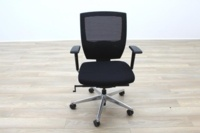 Black Fabric / Mesh & Polished Aluminium Office Task Chairs - Thumb 5