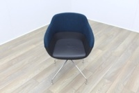 Brunner Blue Fabric Back Grey Leather Seat Reception Tub Chair - Thumb 2