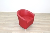 Red Leather Office Reception Tub Chairs - Thumb 3