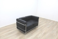 Black Leather Le Corbusier Style 2 Seater Office Reception Sofa - Thumb 3