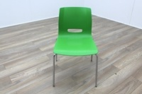 Allermuir Casper Green Shell Chrome Frame Office Meeting / Canteen Chairs - Thumb 2
