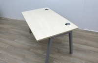 Maple 1400m Stand Alone Desk With Cable Port - Thumb 4