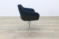 Brunner Blue Fabric Back Grey Leather Seat Reception Tub Chair - Thumb 7