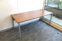 Walnut 1800mm Straight Office Desks - Thumb 2