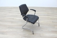 Giroflex 16 Series Black Leather Cantilever Office Meeting Chairs - Thumb 5