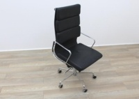 Charles Eames Soft Pad Style High Back Black Leather Faced Task Chair - Thumb 5