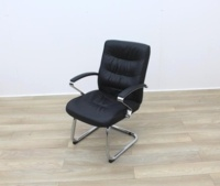 Black Faux Leather Meeting Chairs - Thumb 3