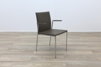Brunner Brown Leather with Armrests Meeting Chair - Thumb 5