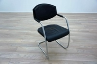 Giroflex 16 Series Black Leather Padded Office Meeting Chairs - Thumb 2