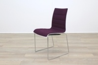 Brunner White Back Burgundy Fabric Seat Chrome Legs Meeting Chair - Thumb 3