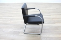 Vitra Visasoft Black Leather Cantilever Office Meeting Chairs - Thumb 6