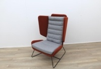 Big Red and Grey Reception Chairs With Metal Frame - Thumb 4