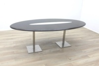 Wenge Oval Meeting Table Glass Inlay - Thumb 3