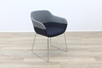 Brunner Grey and Blue Fabric Reception Tub Chair - Thumb 5
