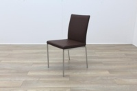 Brunner Brown Leather Chrome Base Meeting Chair - Thumb 3