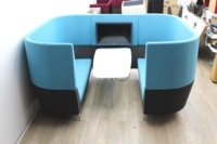 Blue Orangebox meeting sofa with table and tv - Thumb 3